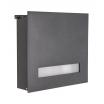 Heibi Briefkasten Fondalux Aluminium, mit Acrylglasscheibe Steingrau