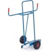 Fetra Plattenkarre, Stahlrohr, Stahlblechschaufel 500x200mm,Höhe 1430mm, Tragkraft 400kg, Vollgummi- räder 250x60mm, Nabenlager, Beschichtung blau